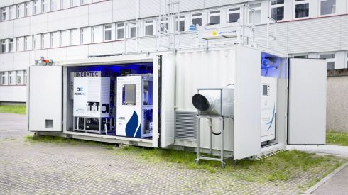 The world's first integrated Power-to-Liquid (PtL) test facility to synthesize fuels from the air's carbon dioxide. (Photo: P2X project/Patrick Langer, KIT)